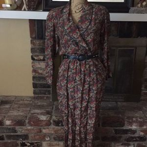 Vintage Faux wrap Silk dress